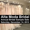 Alta Moda Bridal Sample Sale, Next Saturday