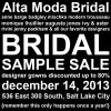 Shop Closed Today for Alta Moda Sample Sale
