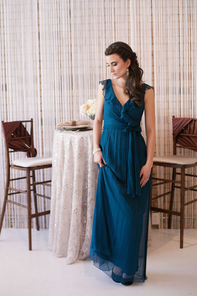 long modest bridesmaids dress in pacific blue - Lily & Iris ...