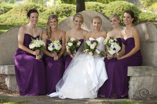 eggplant chiffon bridesmaid dresses from Amsale