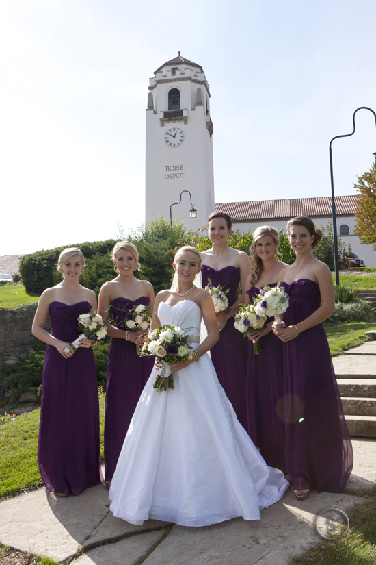 eggplant chiffon bridesmaid dresses from Amsale style G425C