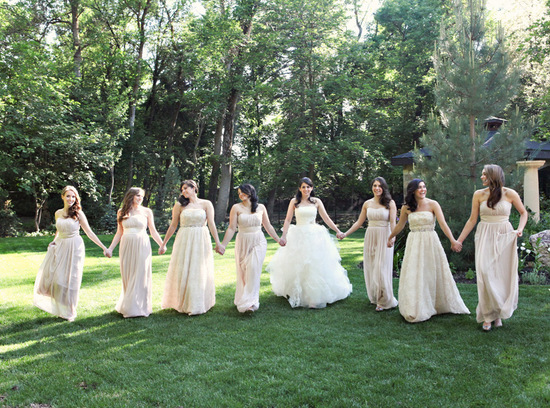long cream chiffon bridesmaid dresses
