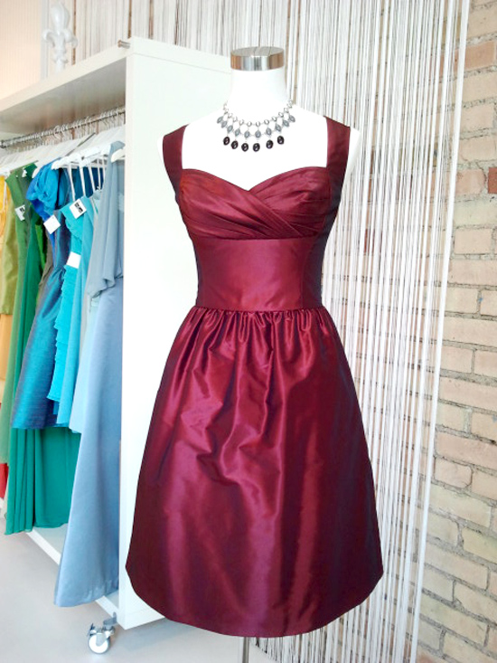 red amsale cocktail dress