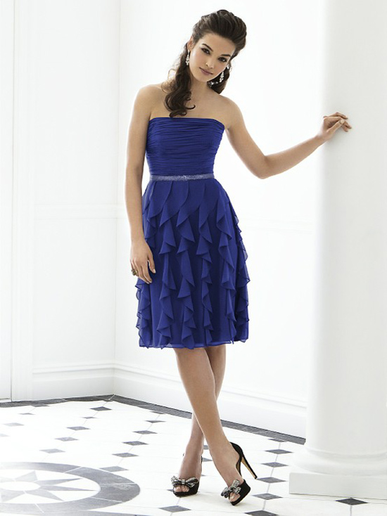 blue ruffled bridesmaid dress