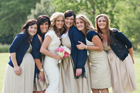 navy and tan modest bridesmaids
