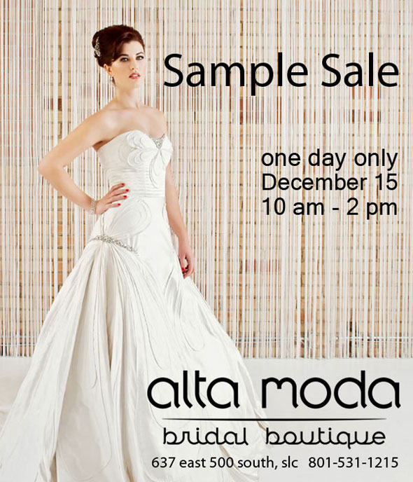 Wedding Dress Sales Utah : Alta moda bridal annual wedding dress sample sale salt