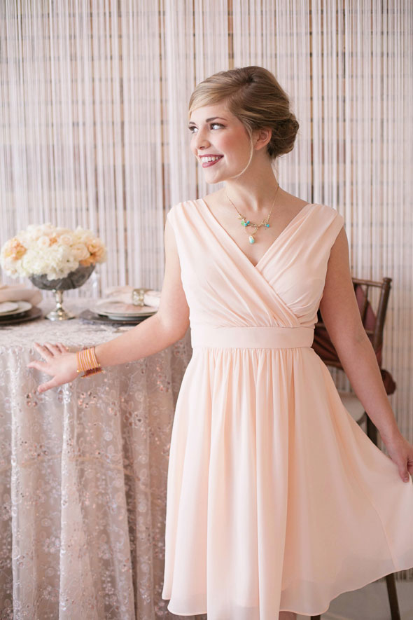 Blush colored modest dresses