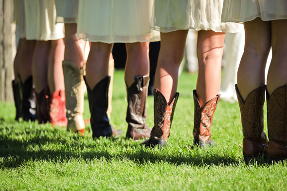 Amsale bridesmaids with cowboy boots