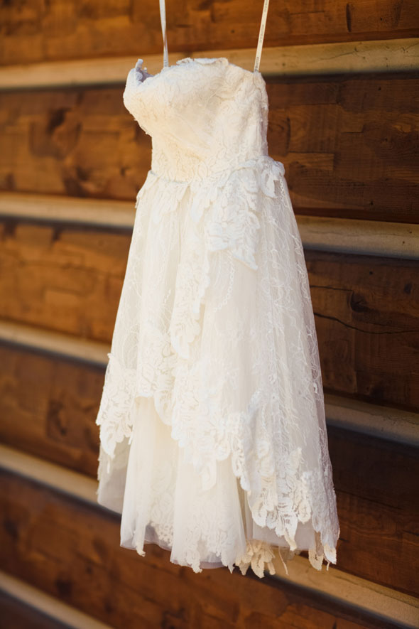 Short lace reception dress by Ivy & Aster Utah