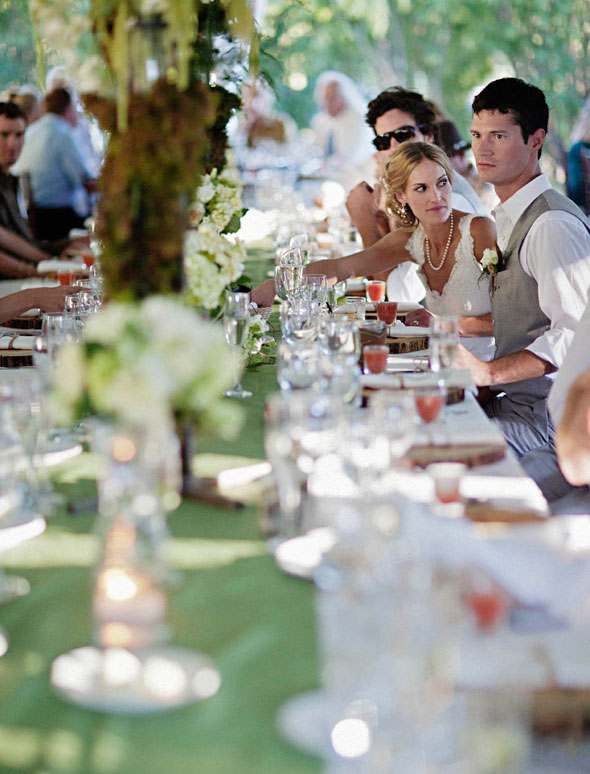 green and white wedding tablescape