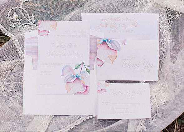 Utah fall wedding watercolor invitations