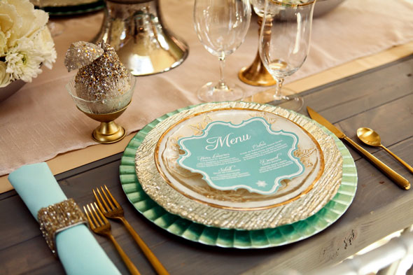 mint and gold winter wedding table
