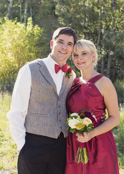 sundance wedding with red bridesmaids dresses
