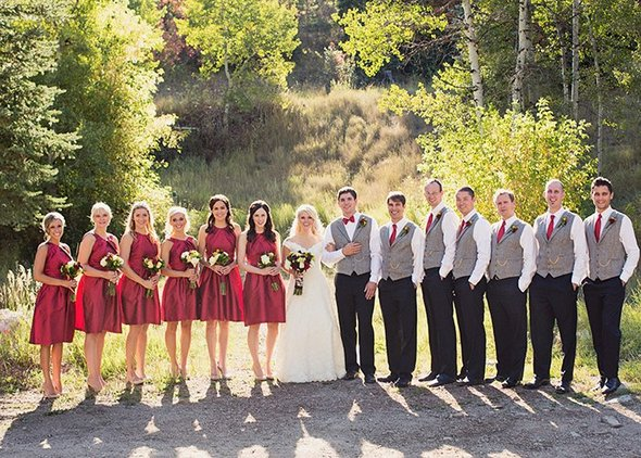 sundance utah wedding red bridesmaids dresses