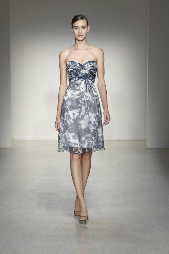 french blue floral print bridesmaids dresses from amsale