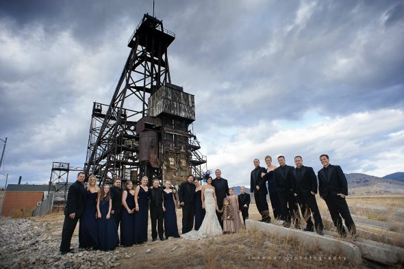 montana fall wedding with navy blue bridesmaids dresses