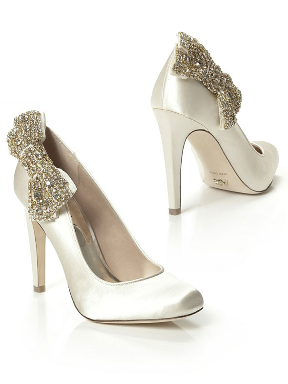 dessy bridesmaids wedding shoes with crystal bow