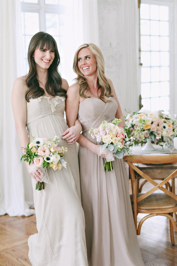 shades of champagne bridesmaids dresses