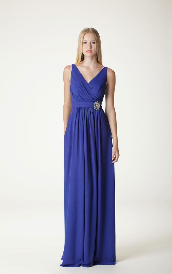 cobalt blue floor length bridesmaid dress from aria 2014 collection