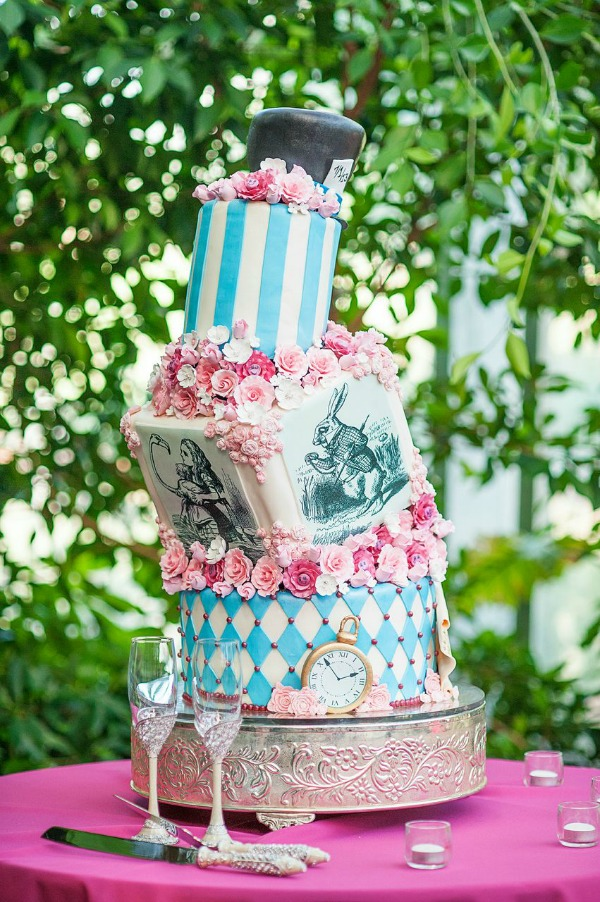 alice in wonderland themed wedding cake at la caille by cake-a-licious- photo by heather nan