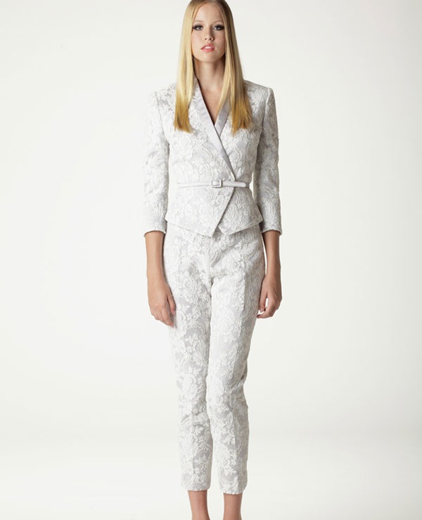 Lace modest wedding suit from Aria