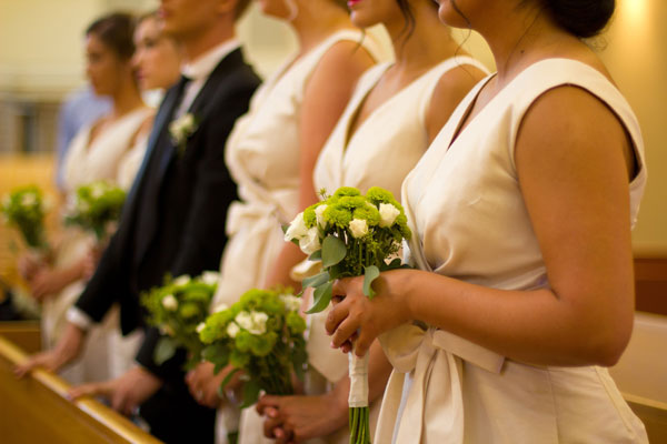 alfred sung bridesmaids dresses for idaho wedding at Holy Apostles Catholic Church- photo by kate jennings