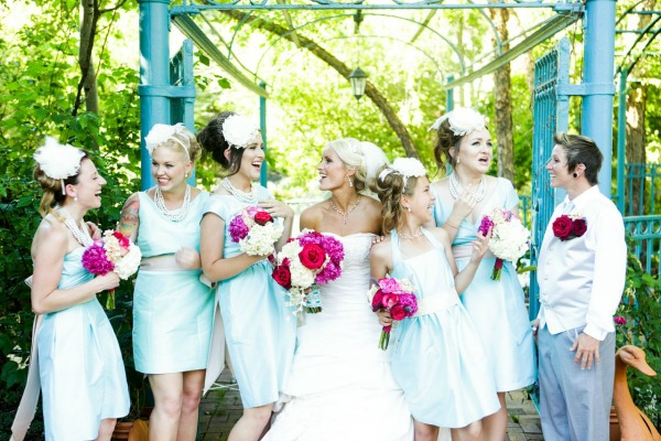 periwinkle blue custom bridesmaid dresses by lily and iris bridesmaids in salt lake city- photo by heather nan