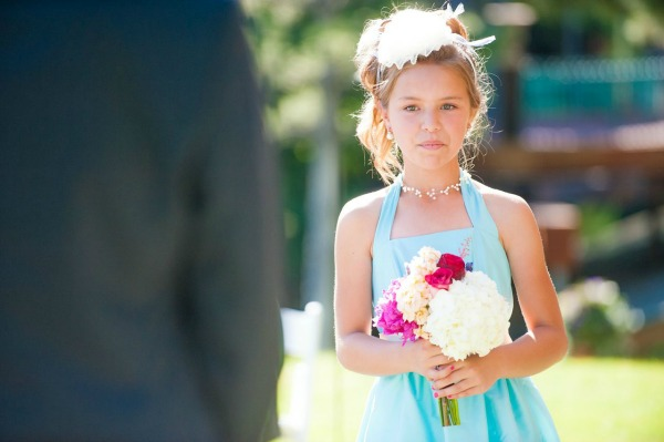 custom flower girl dress in blue by lily and iris bridesmaids in salt lake city- photo by heather nan