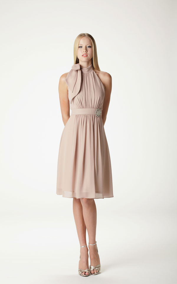 2014 aria collection features high neck with bow bridesmaid dress