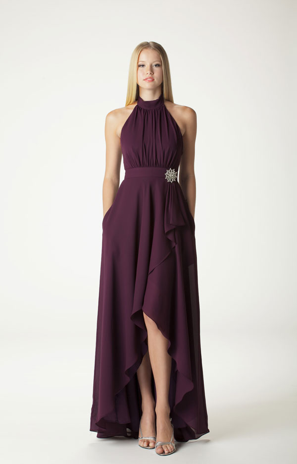 plum high-low styled bridesmaid dress from aria 2014 collection