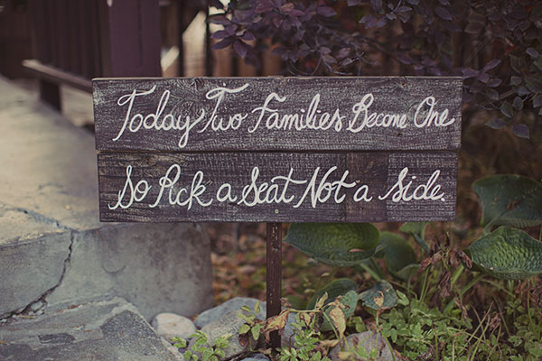 ceremony sign at millcreek inn wedding in utah- photo by alixann loosle
