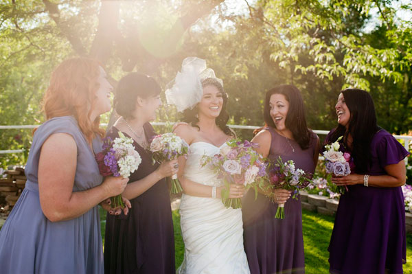 plum hued modest bridesmaid dresses by lily & iris in salt lake city- photo by amy cloud