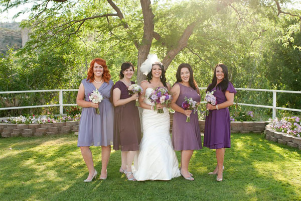 modest plum ombre bridesmaid dresses by lily & iris in salt lake city utah- photo by amy cloud