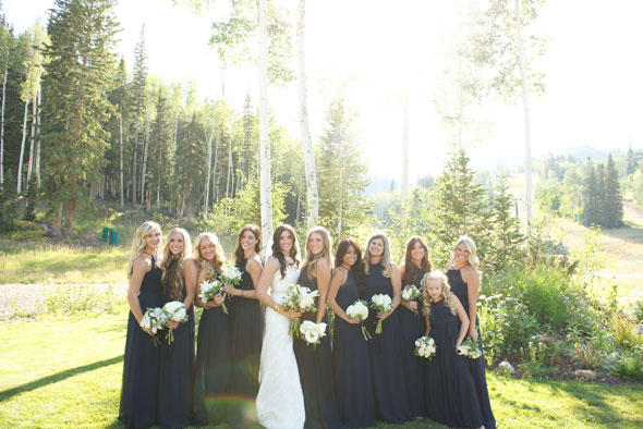 navy blue bridesmaids dresses by lily and iris for park city wedding- photo by dezember