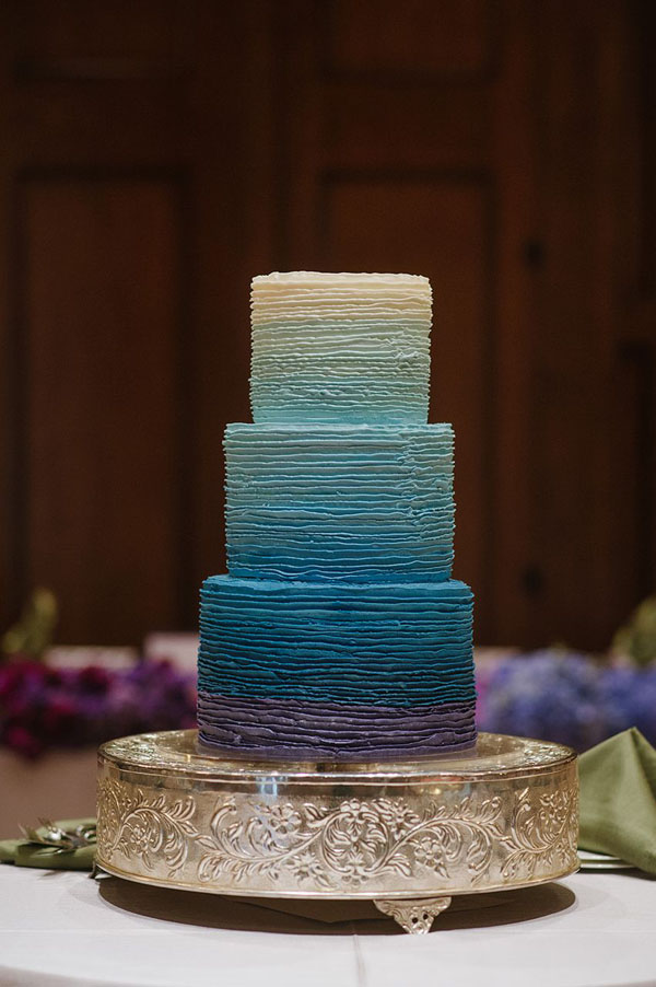 ombre cake at st regis ombre wedding in park city utah- photo by heather nan