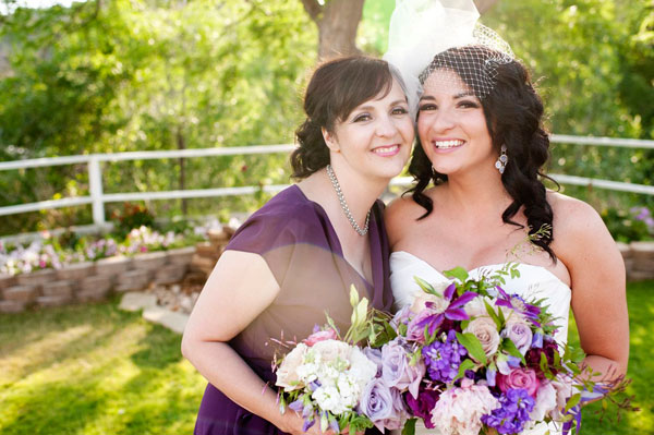 modest maid of honor gown in plum by lily & iris bridesmaids in utah- photo by amy cloud