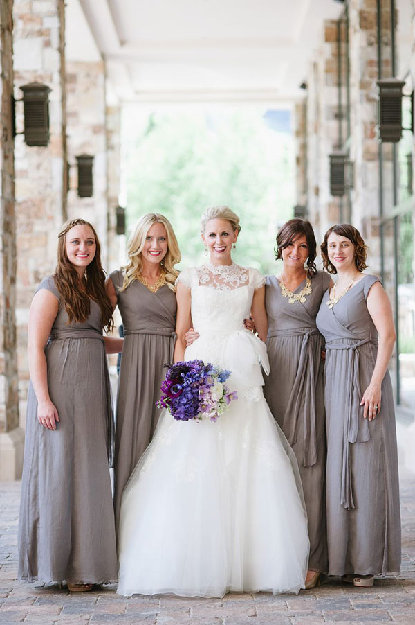 Lily & Iris modest bridesmaid dresses at St Regis Wedding in Park City photo by heather nan