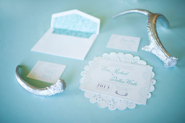 tiffany blue invitation suite with silver antlers- photo by amy cloud