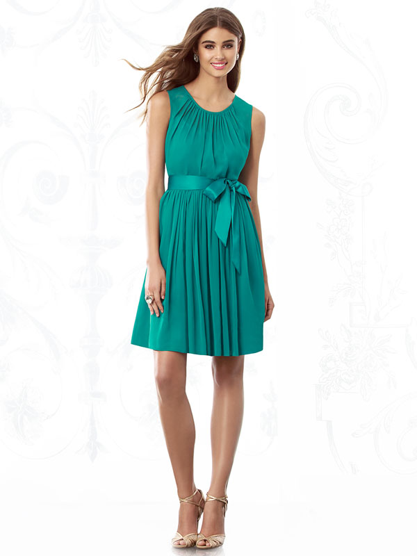 pleated bridesmaid dress with bow and scoop neck straps