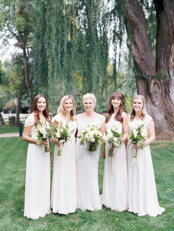 modest floor length ivory bridesmaid dresses available at lily & iris in slc- photo by Britt Chudleigh