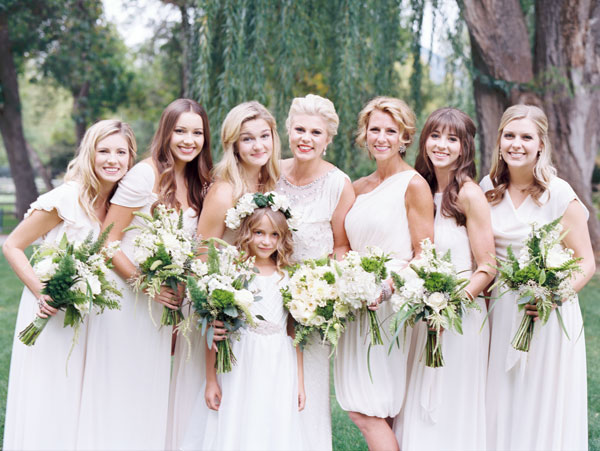 modest bridesmaid dresses in ivory by the dessy group from lily & iris bridesmaids- photo by britt chudleigh