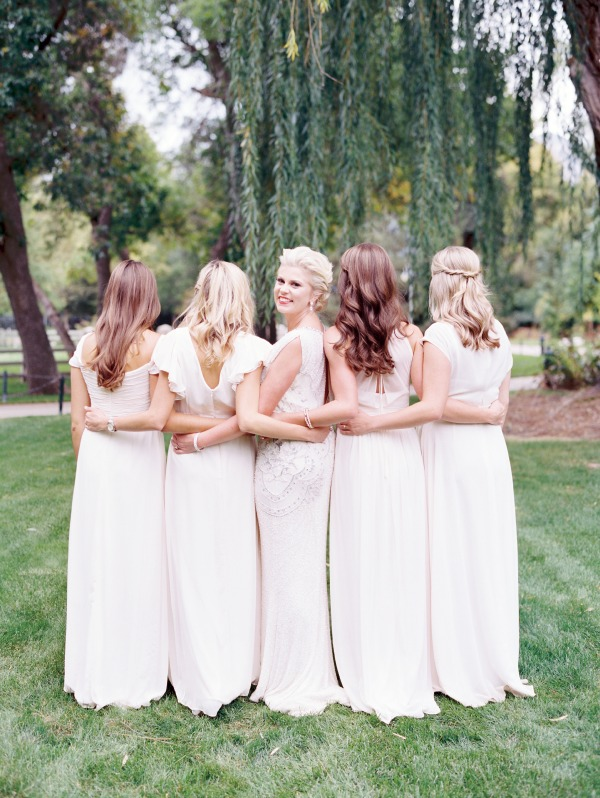 ivory modest bridesmaid dresses by the dessy group available at lily & iris in utah- photo by Britt Chudleigh