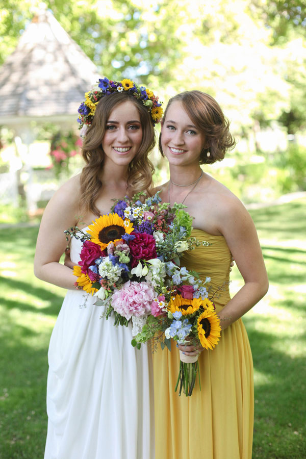 sunflower yellow bridesmaid dress from lily & iris in utah- photo by Jacque Lynn photography