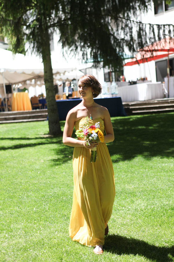 floor length yellow bridesmaid dress from lily & iris in salt lake- photo by Jacque Lynn photography