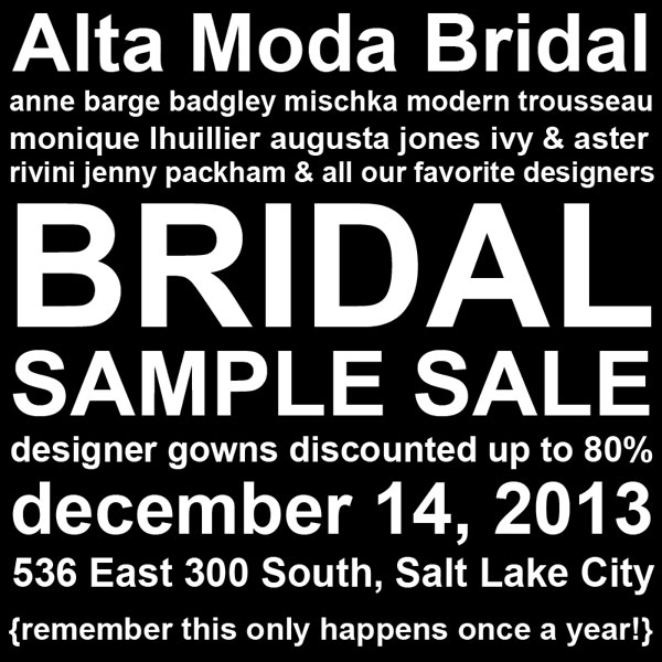 Wedding Dress Sample Sale Salt Lake City