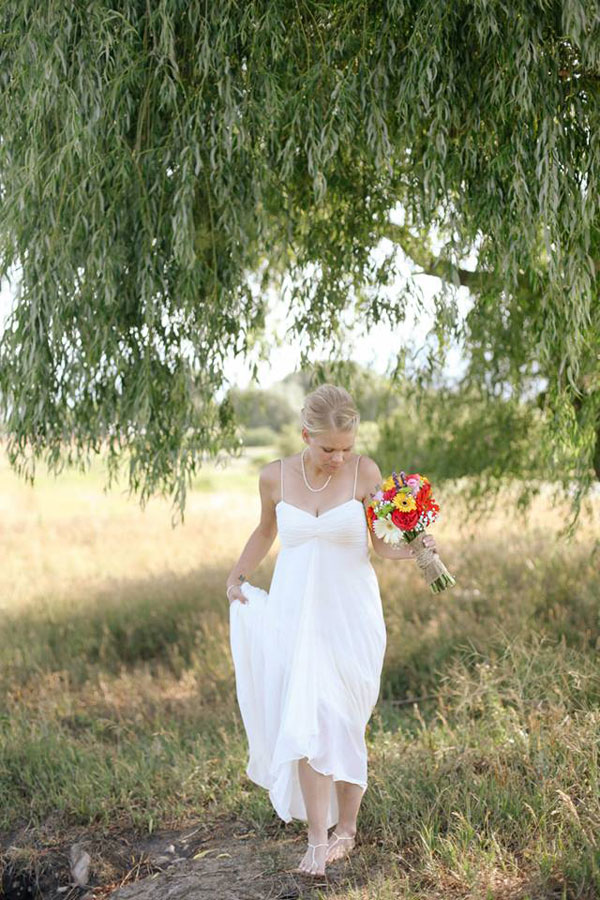 ivory dessy group wedding dress for outdoor rustic wedding- photo by jacque lynn