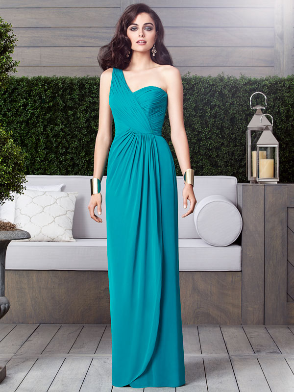 dessy bridesmaid floor length ruched one shoulder with slit 2905