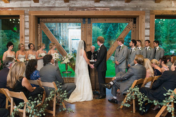 rustic wedding ceremony at sundance resort in utah- photo by jessica kettle