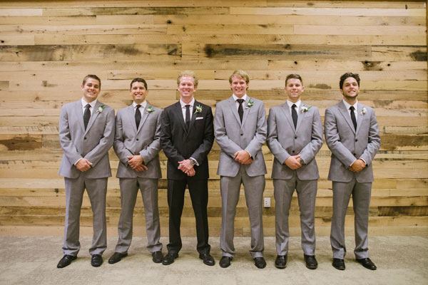 groomsmen in gray suits for utah wedding in mountains- photo by jessica kettle