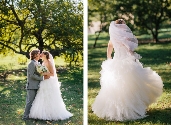 ruffled wedding gown for outdoor utah wedding- photo by michael tallman
